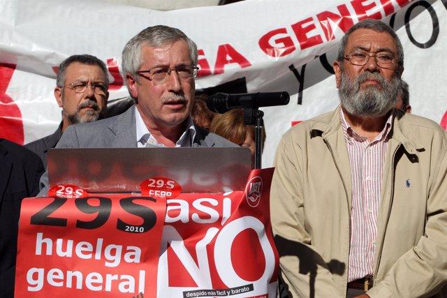 Toxo y Méndez presentan la huelga general