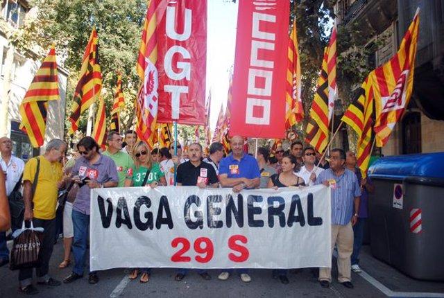 Manifestación sindical durante la Diada