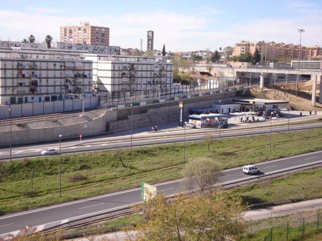 El metro de Sevilla en su tramo aljarafeño.