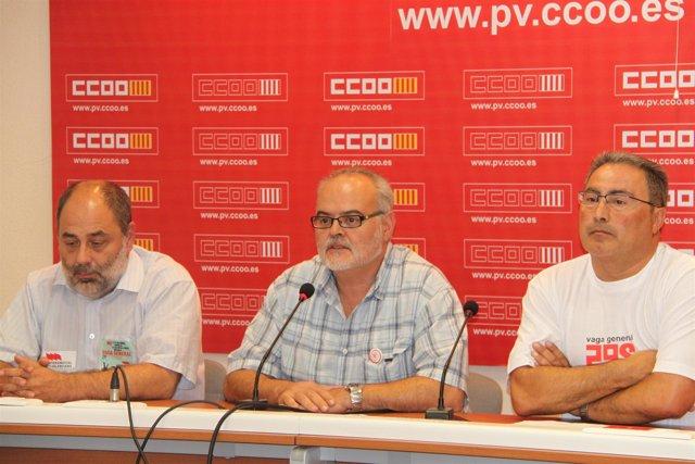 Secretarios generales de IV, UGT-PV y CCOO-PV en la rueda de prensa.