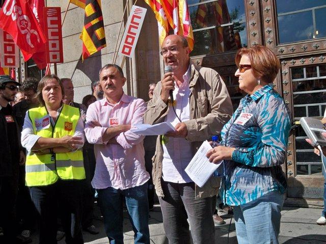 Los secretarios generales de CC.OO., UGT, Usoc y CSC en Catalunya
