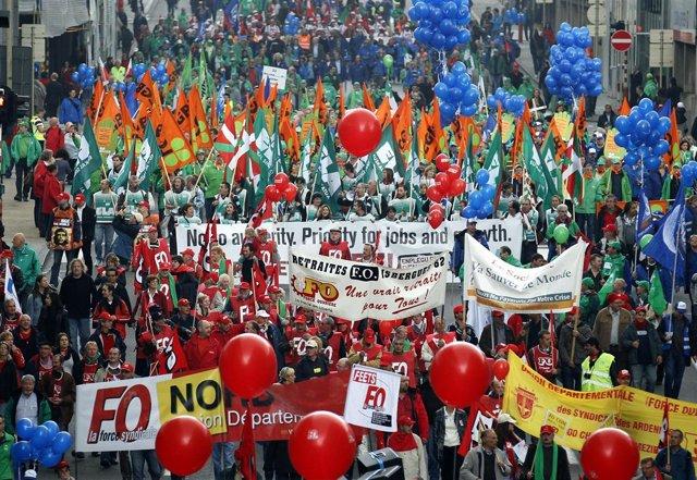 Manifestación en Bruselas contra los recortes