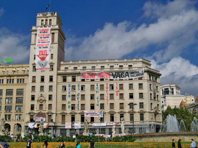 La antigua sede de Banesto en Plaza Catalunya