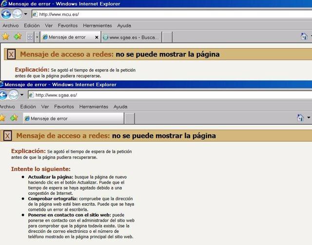 Las webs de la SGAE y el Ministerio de Cultura, víctimas de un ciberataque.