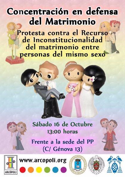 Asociación gay convoca hoy concentración en la sede del PP para que retire su recurso contra el matrimonio homosexual