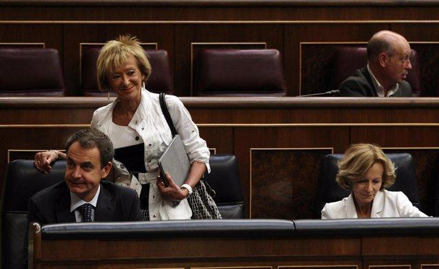 Zapatero, salgado y de la Vega, en el Congreso de los diputados
