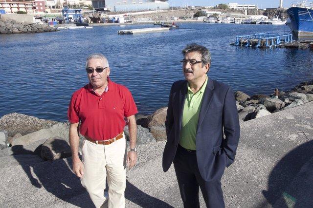 Alcalde de Telde, Francisco Santiago (polo rojo), y vicepresidente del Cabildo d