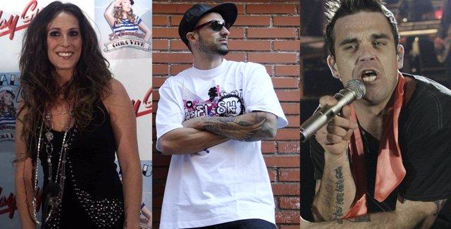 Montaje de los cantantes Malú, Toteking y Robbie Williams
