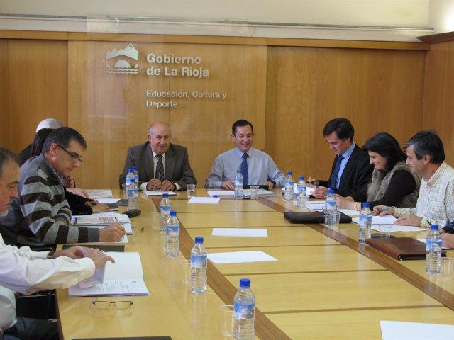 Luis Alegre y Javier Erro durante la presidencia del pleno del Consejo de FP
