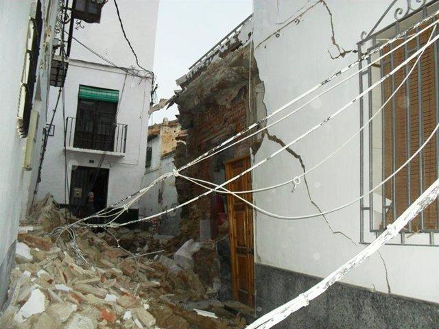 Una de las casas afectadas en Guadix (Granada)
