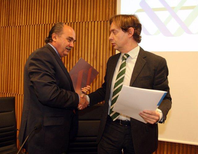Jesús Gamallo y José María Arrojo, en unas jornadas sobre la directiva europea d