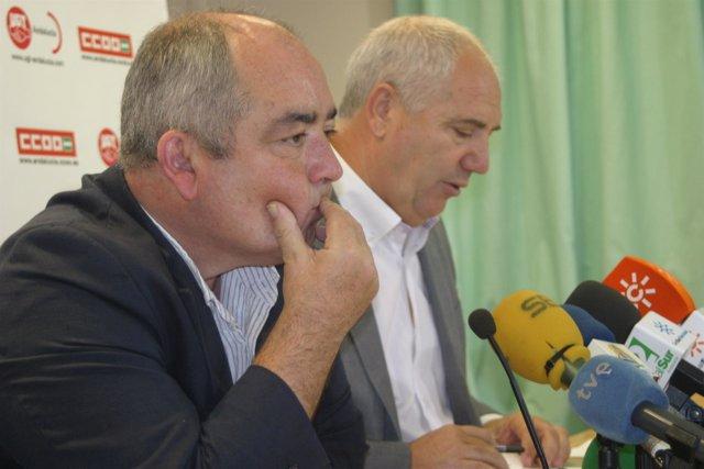 Los secretarios generales de UGT y CCOO en Andalucía, Manuel Pastrana y Francisc