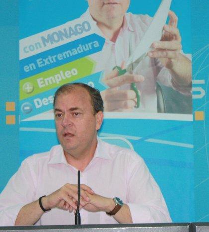"""Monago señala que el paro real está """"estancado"""" en Extremadura y recalca que el empleo se crea """"generando confianza"""""""