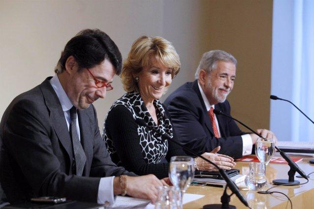 González, Aguirre y Beteta en rueda de prensa posterior al Consejo de Gobierno