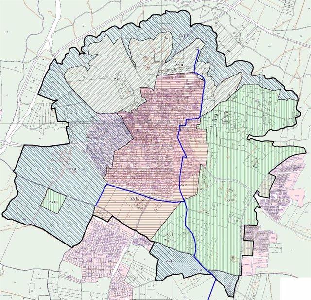 Plano de Valencina con el trazado de la tubería marcado en azul.