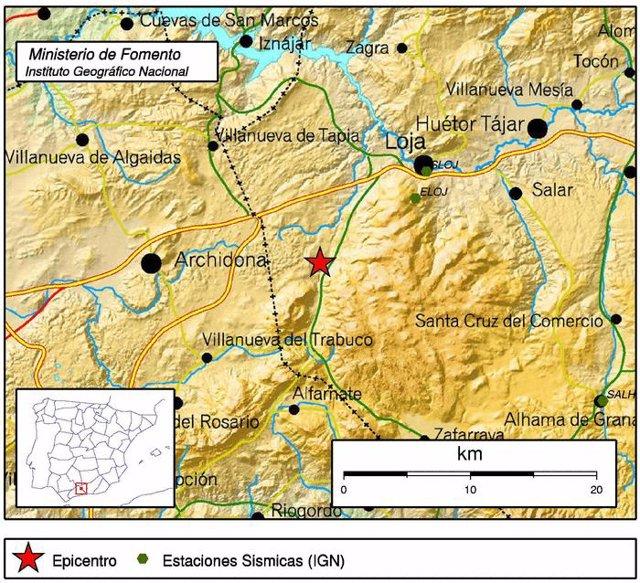 Epicentro del último terremoto en Granada