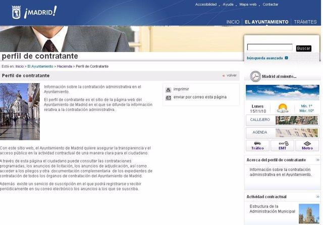 Página de contratación con el Ayuntamiento de Madrid