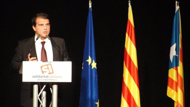Joan Laporta (SI) en el inicio de la campaña a las catalanas