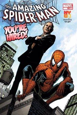 Comic de Spiderman con el alcalde de Nueva York