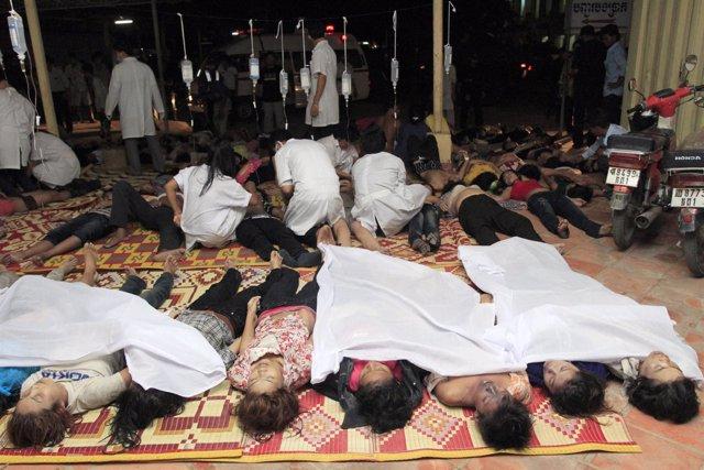 Camboyanos muertos durante una estampida