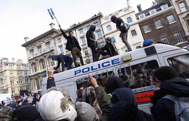 Protestas de estudiantes en Londres