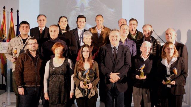 Foto de Familia de los homenajeados del Centro de Recuperación de la Fauna Silve