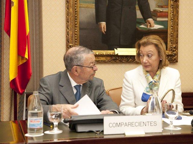 Alberto Oliart y Luisa Fernanda Rudi en la Comisión Mixta de control de RTVE