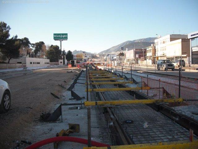 Obras del tranvía de Jaén