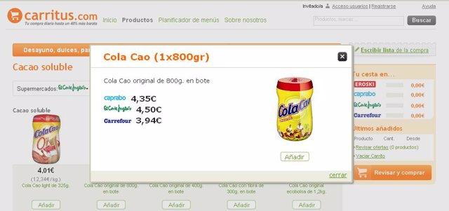 Compara los precios de la lista de la compra en diferentes supermercados con Car
