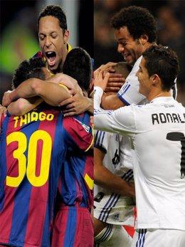 Montaje del Real Madrid y del Barcelona