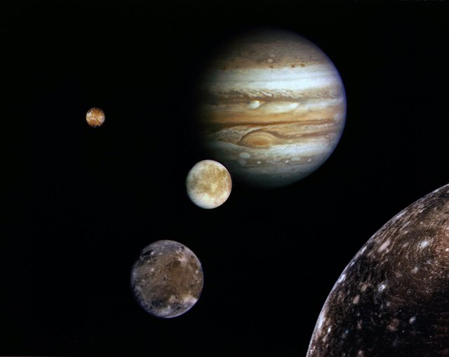 Jupiter and its four planet-size moons, called the Galilean satellites, were pho
