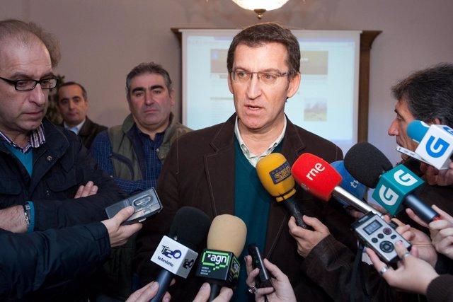 TABOADA (Lugo) 11,00 h.- O presidente da Xunta, Alberto Núñez Feijóo, acompañado
