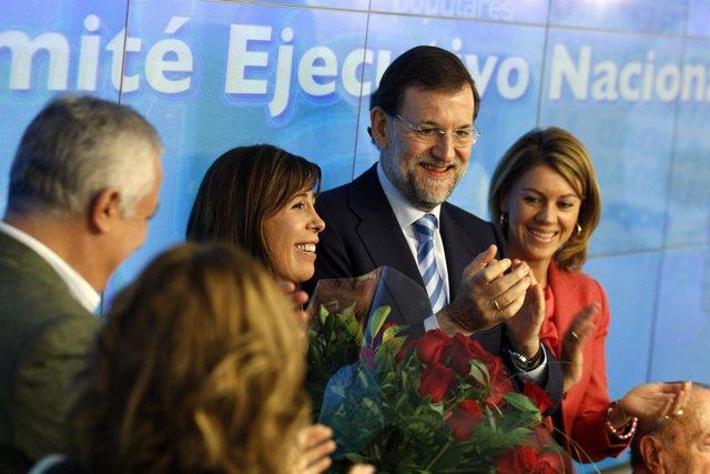 Comité Ejecutiva del PP con Camacho, Rajoy y Cospedal