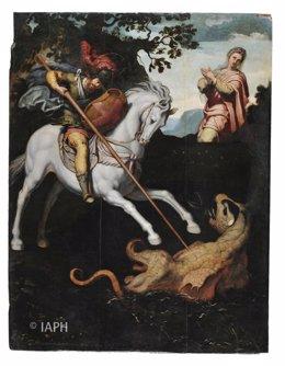 San Jorge y el dragón, tabla perteneciente la retablo de Santa Ana