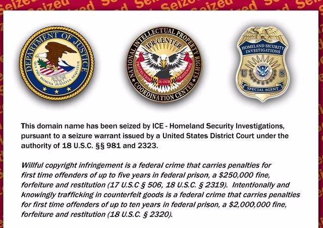 Mensaje de embargo en las páginas cerradas por el ICE