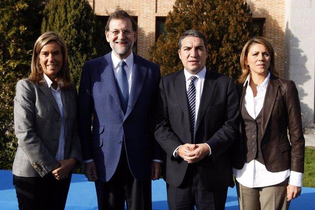 El presidente nacional del PP, Mariano Rajoy, la secretaria general, Dolores de