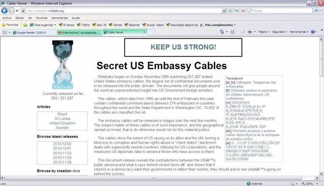 Captura de la web de Wikileaks