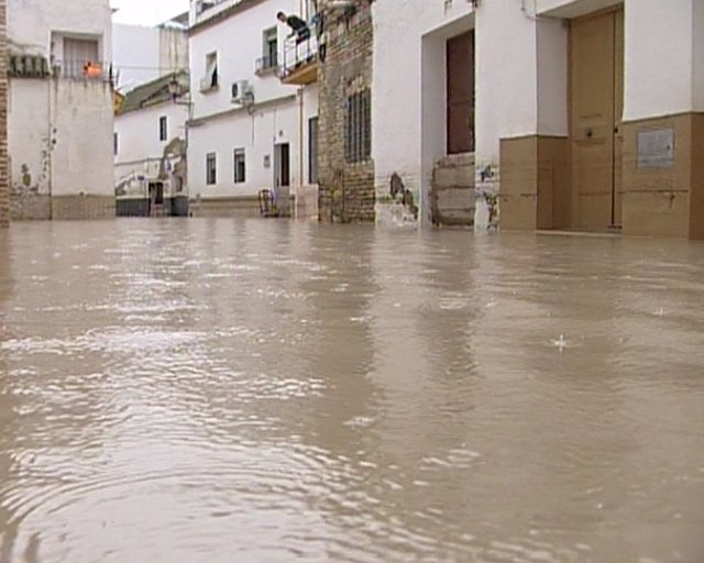 Vecinos de Ecija se afanan en las tareas de limpiza tras las inundaciones