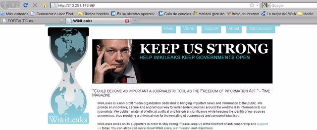 captura de la página de wikileaks