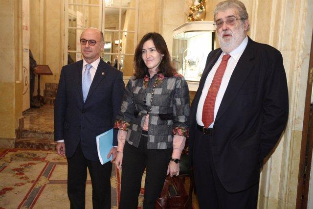 Aldo Olcese, Ángeles González-Sinde y José Manuel Lara