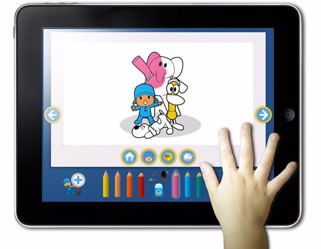 Aplicación para que los niños pinten y coloreen a Pocoyó en el iPad