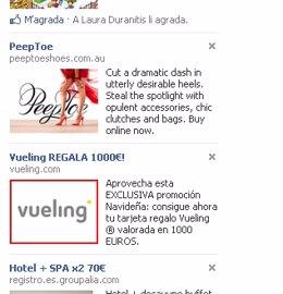 Promoción engañosa en Facebook con el logotipo de Vueling