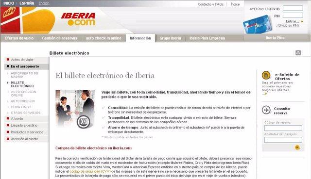 página para obtener la  tarjeta de embarque de Iberia