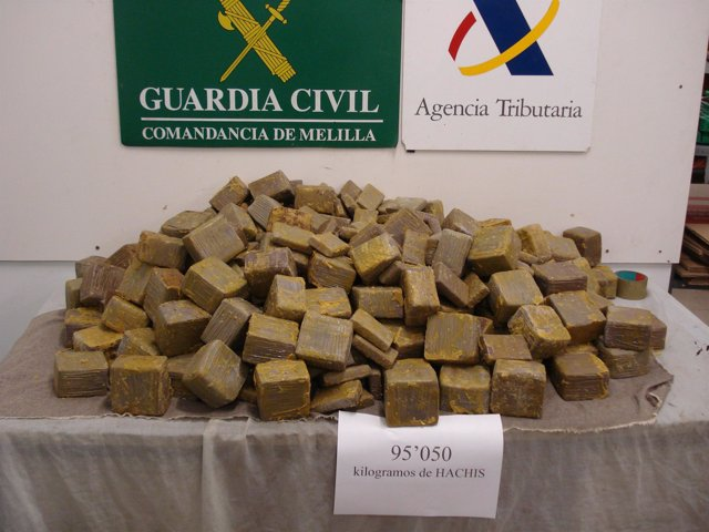 Droga intervenida en el ferry a Málaga
