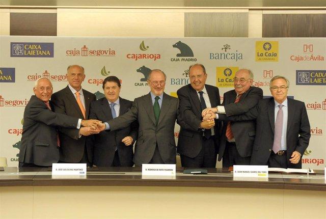 Los presidentes de las cajas integrantes del SIP de Bancaja.