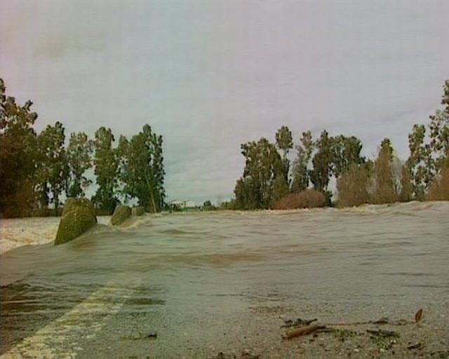 Carretera afectada por las lluvias en Extremadura