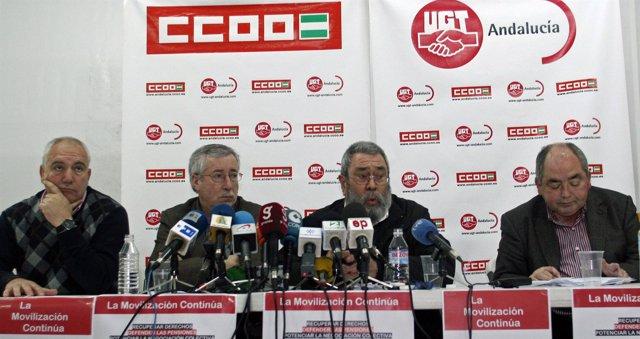 Francisco Carbonero, Ignacio Fernández Toxo, Cándido Méndez y Manuel Pastrana