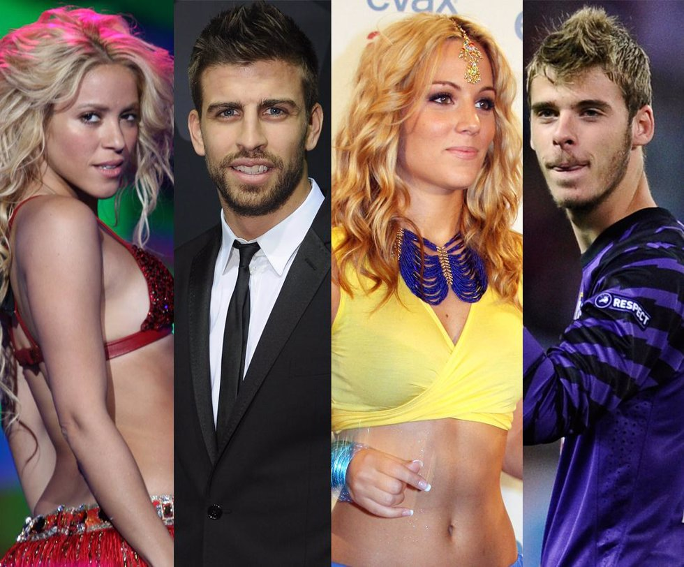 Montaje de Shakira, Piqué, Edurne y David de Gea