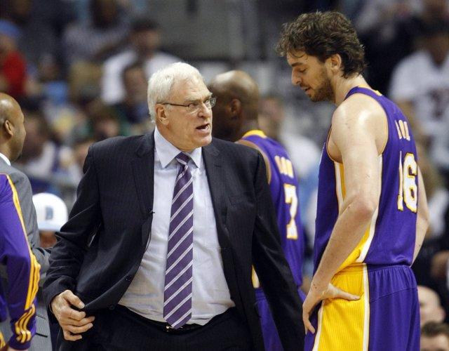 Pau Gasol y Phil Jackson, LA Lakers