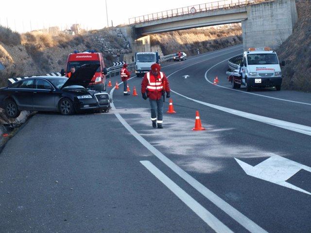 Uno de los vehículos implicados en el accidente.